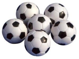 Bolde til bordfodbold fås i denne udgave, som ligner rigtige fodbolde.